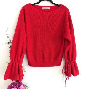 Snidel red knit sweater balloon sleeve AUTHENTIC💯